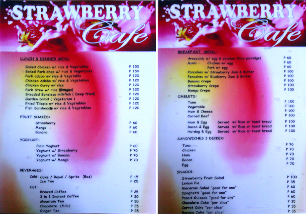 Strawberry Cafe Sagada Menu
